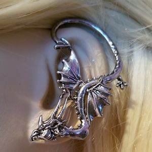 Playful Dragon Ear Cuff ~ for Peirced left ear